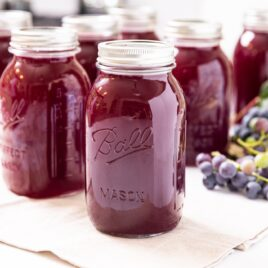 Glass jars filled dark purple canned grape juice concentrate sitting on white countertop with grapes sitting behind