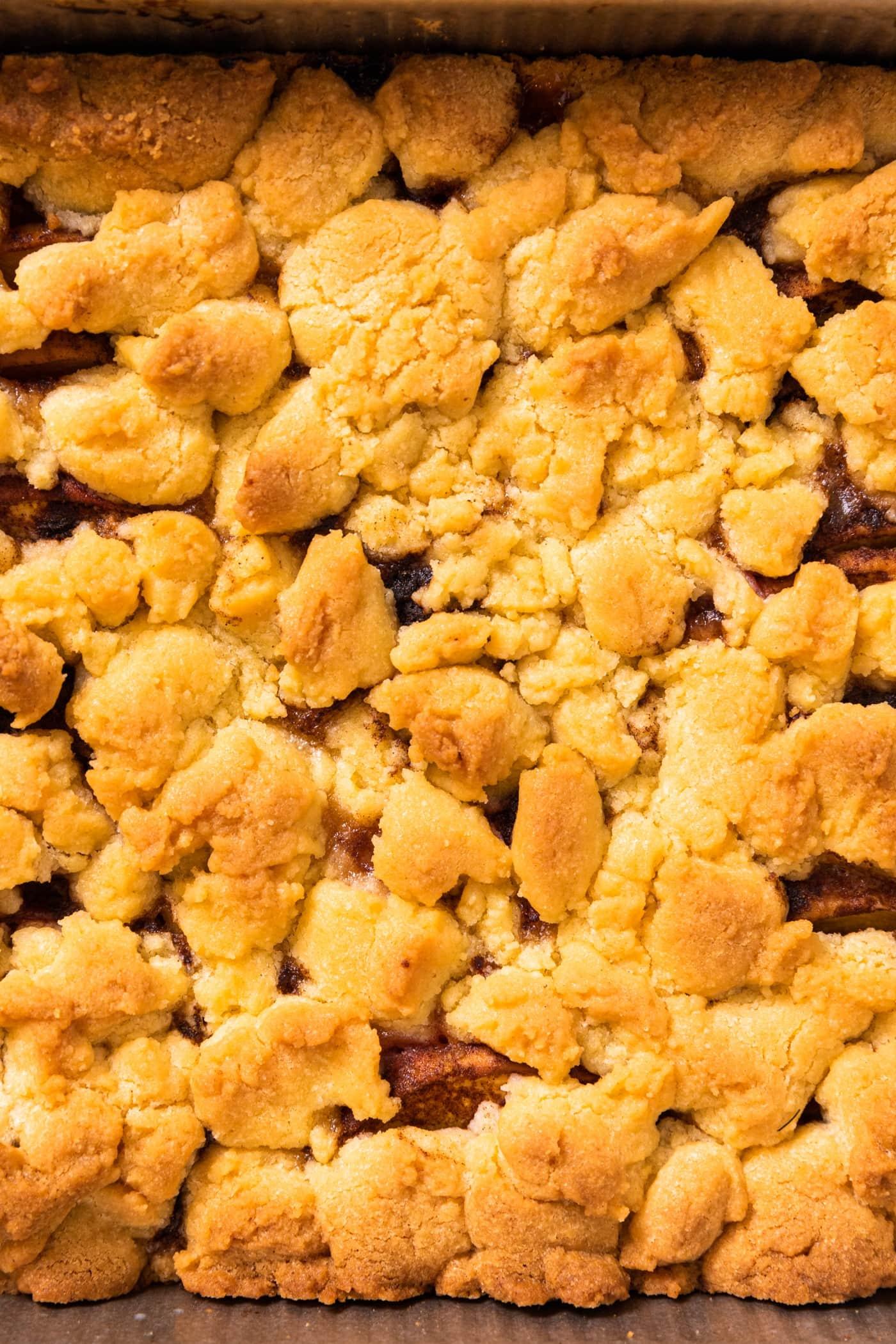 Top down view of golden brown crust on top of beach crumb bars