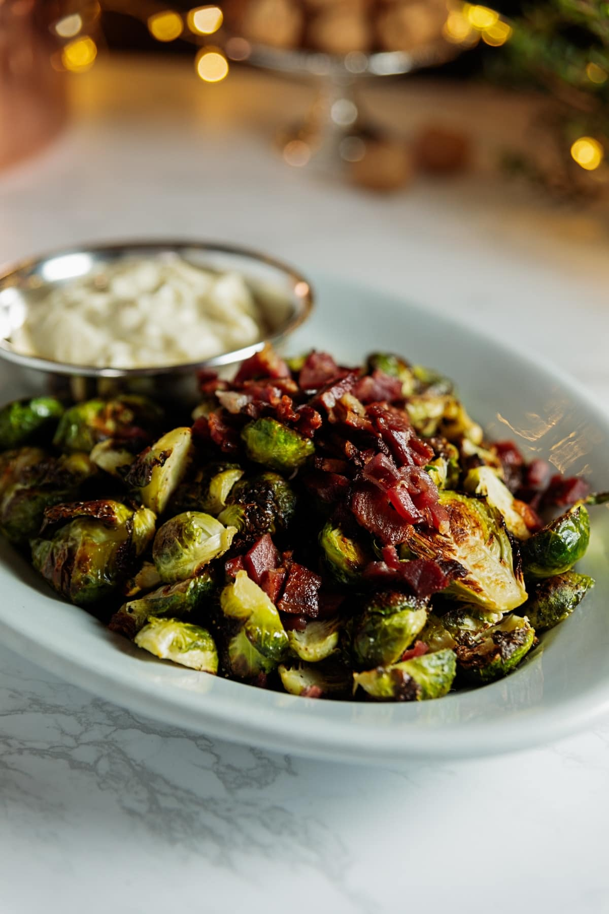 Brussels Sprouts with Bacon + Aioli | Wyse Guide