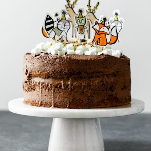 A s'mores ice cream cake covered in chocolate frosting, topped with torched marshmallows and birthday animal figurines on a white cake plate on a gray slate surface with white background