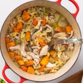 Top down view of red bowl filled with chicken noodle soup with big chunks of chicken and carrots all on white surface