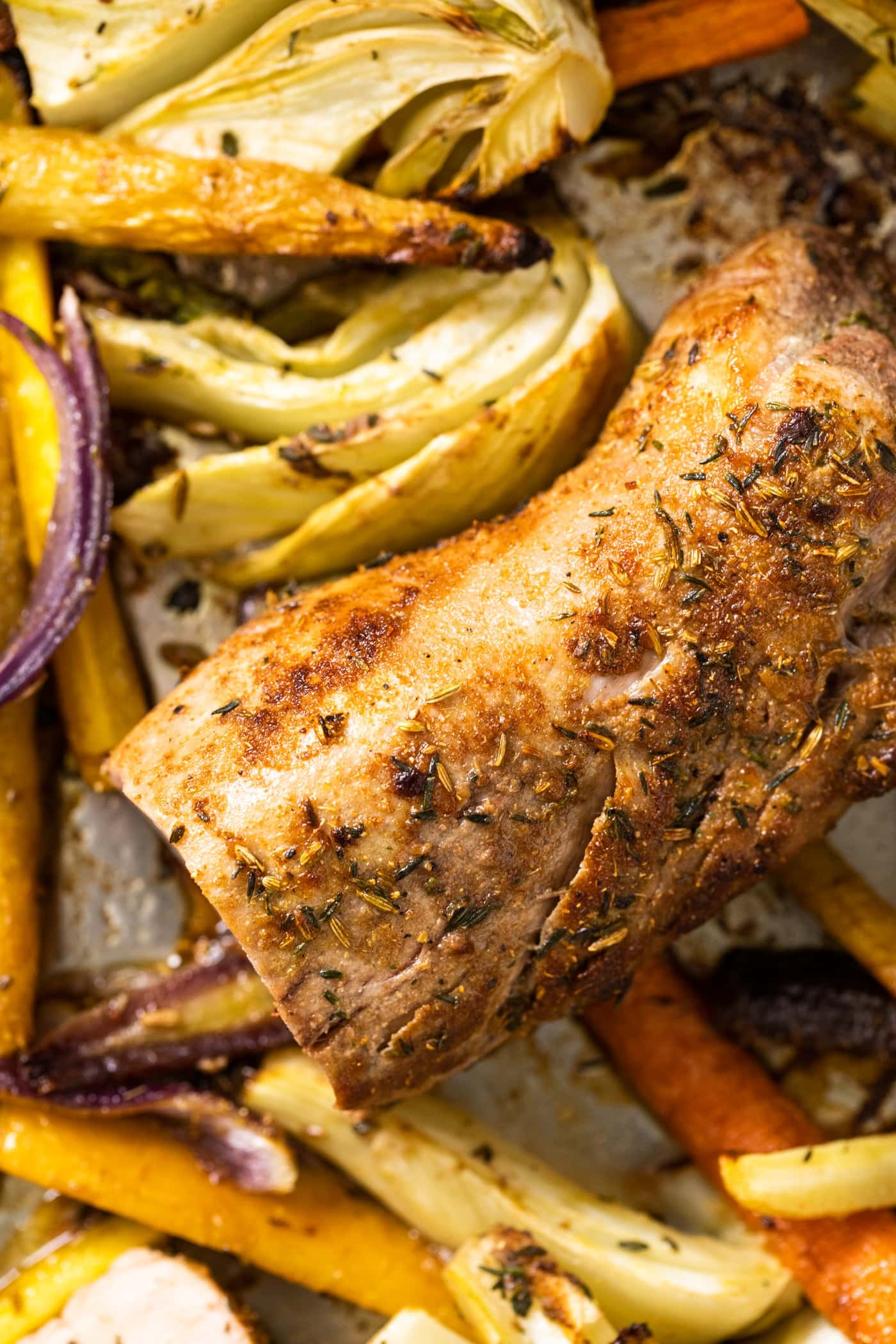 Top down view of seared pork tenderloin with golden brown crust surrounded by pieces of carrot and fennel