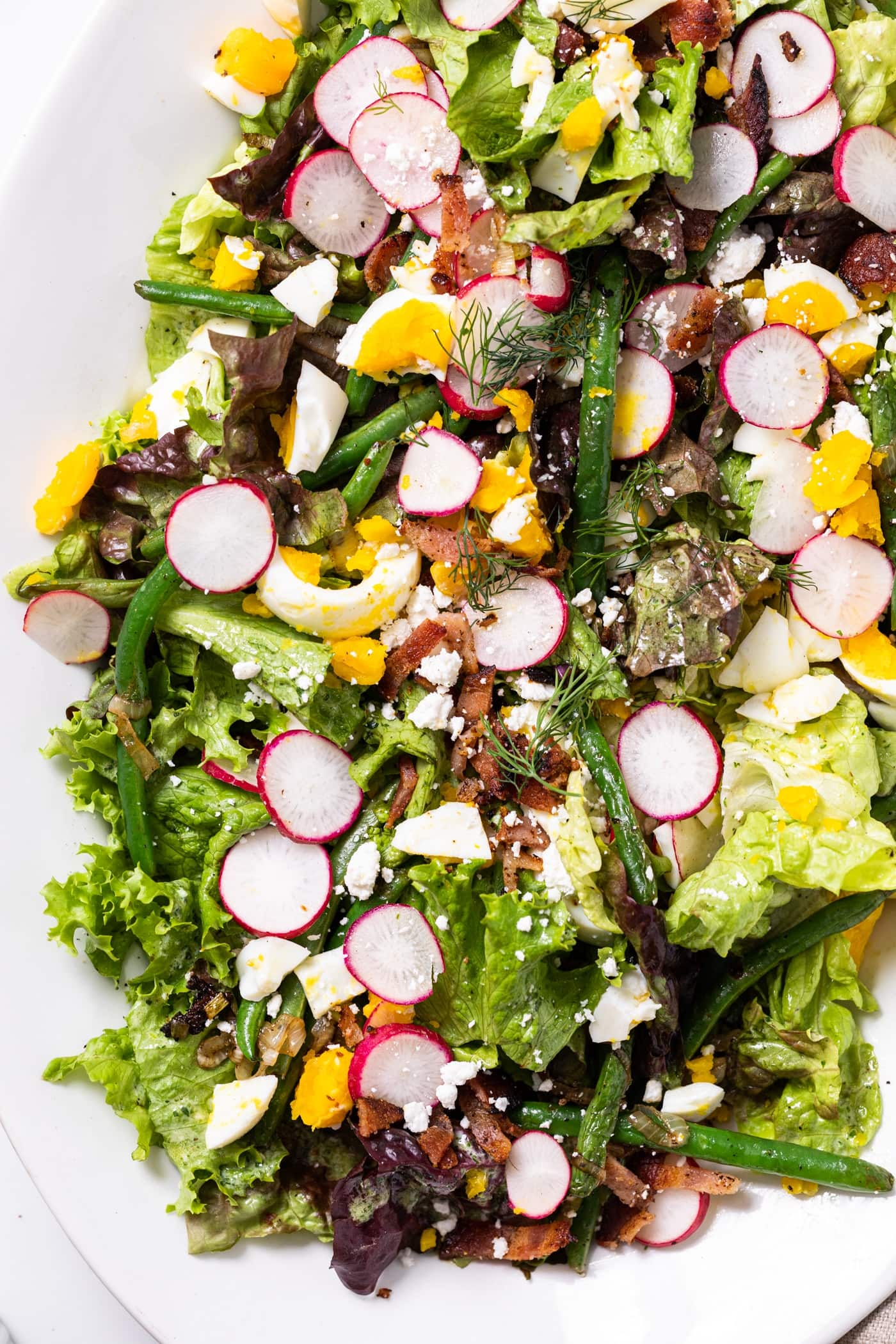 Top down view of white serving platter filled with green lettuce and topped with radishes, eggs, green beans, and bacon with herb dressing lightly poured over the top