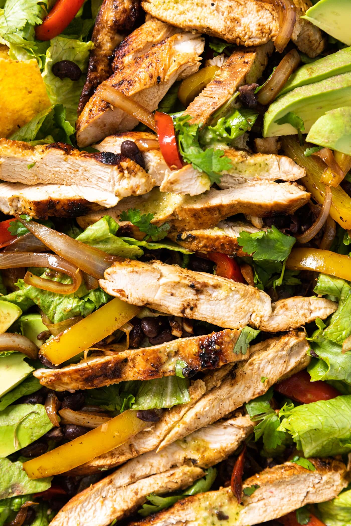 Close up top down view of strips of grilled chicken sitting on top of salad greens and topped with dressing