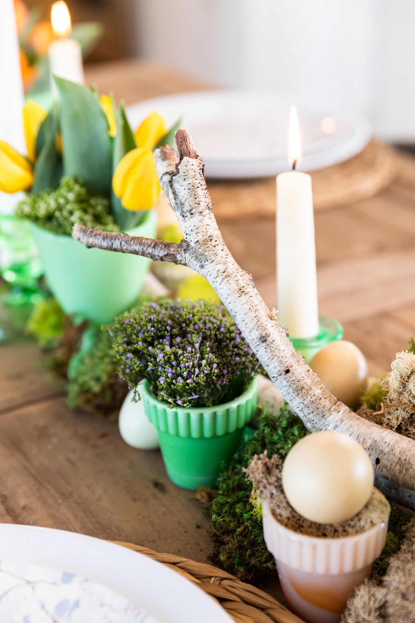 Birch log set along the middle of wooden table with natural elements spread along entire table with yellow tulips in background
