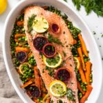 Top down view of long piece of pink salmon sitting on a bed of carrots and peas and topped with slices or orange and lemon with extra dill to the side