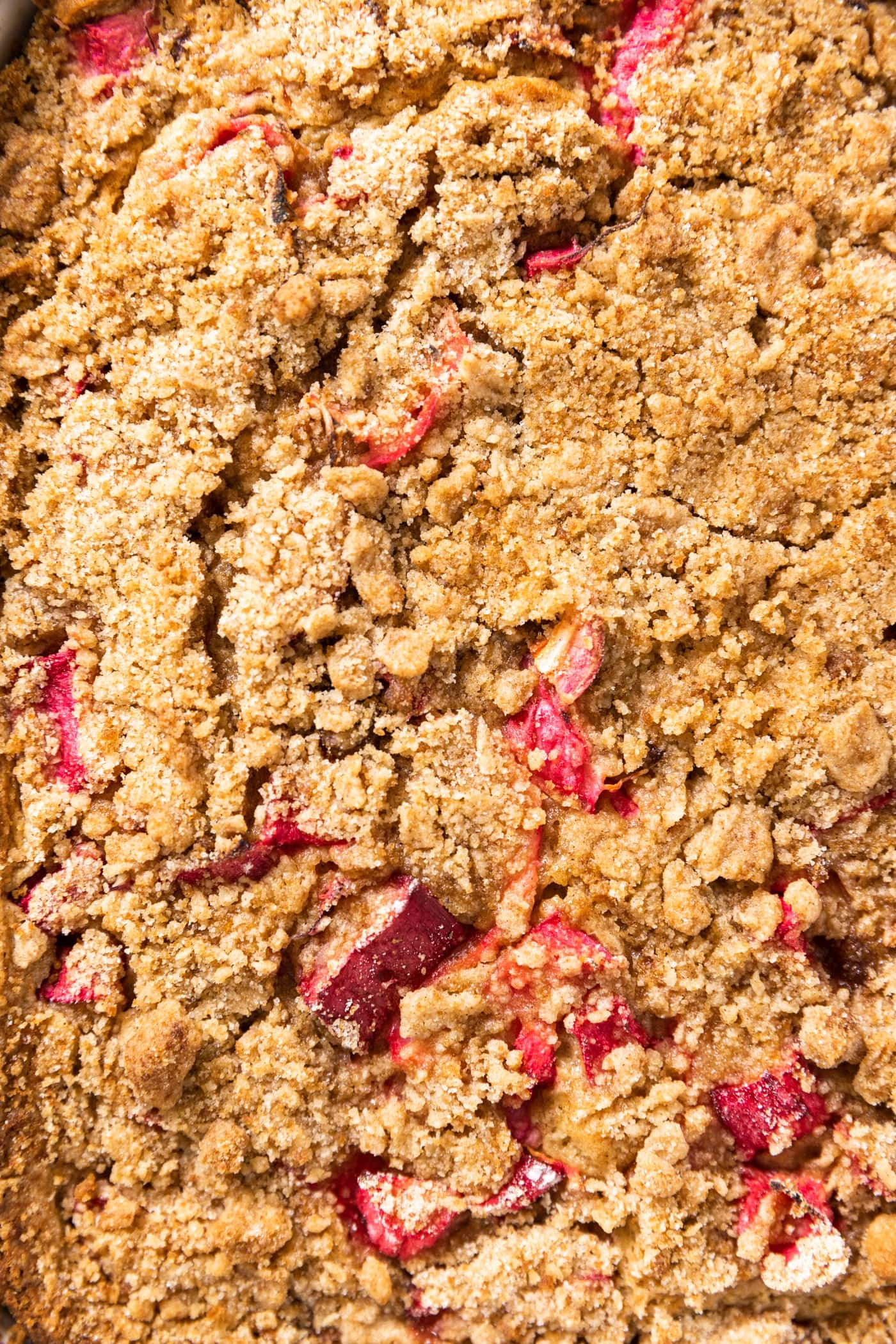 Close up top down view of coffee cake with streusel topping dotted with pieces of chopped rhubarb