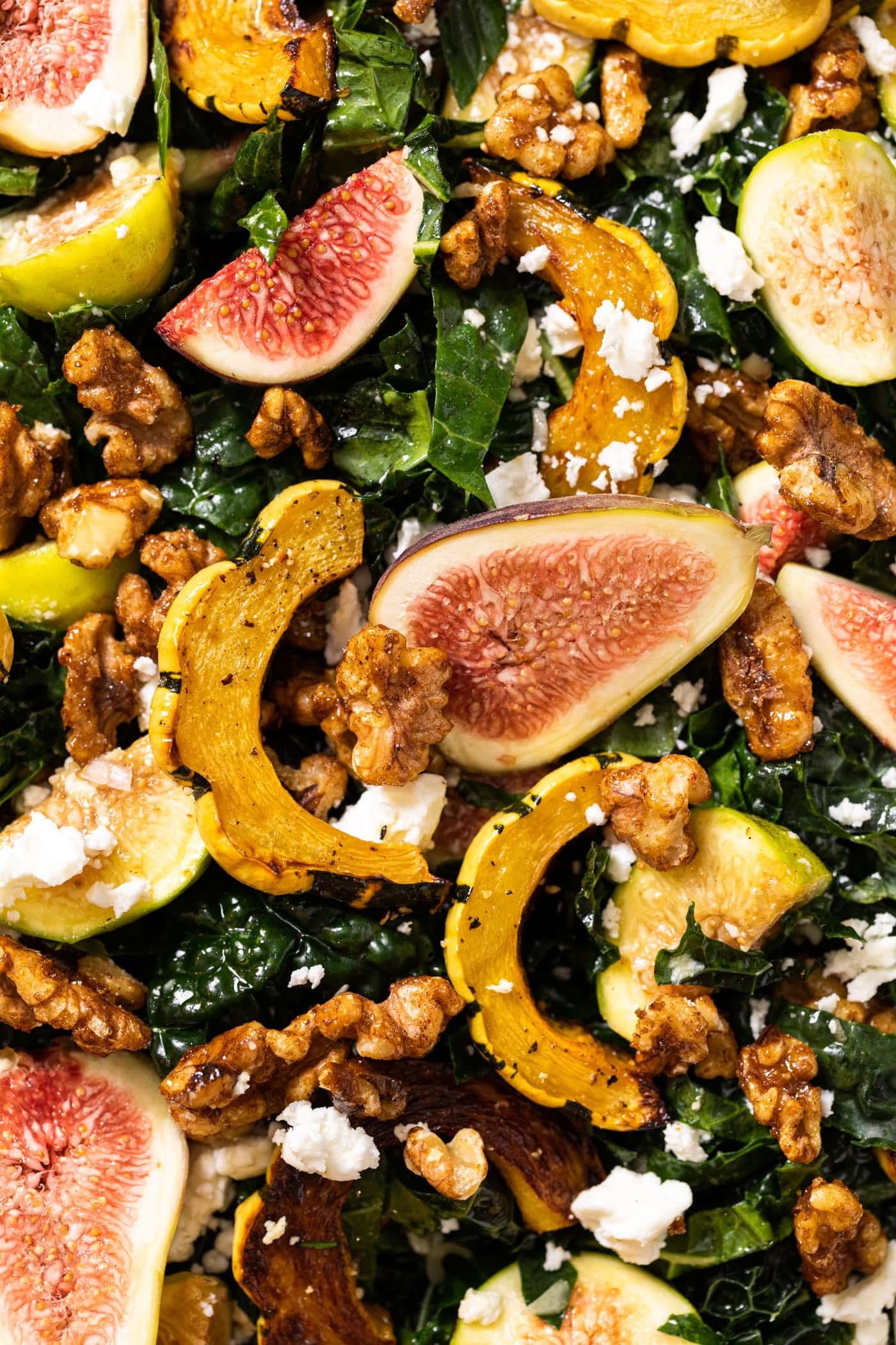 Close up top down view of kale salad topped with figs, squash, candied walnuts, and feta cheese